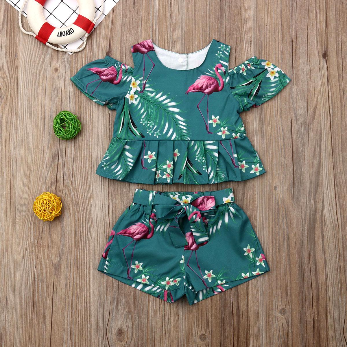 Toddler Baby Girl Clothes Flamingo Print Off Shoulder Ruffle Tops+Short Pants 2pcs Outfits Summer