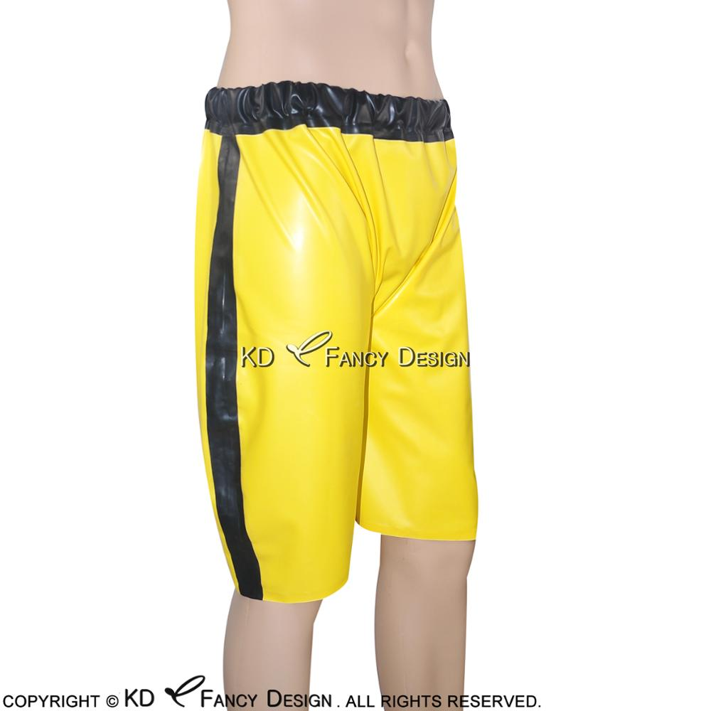 Sexy Latex Boxer Shorts With Elastic Bands Single Stripe Two Side Rubber Boy Underpants Underwear DK-0054