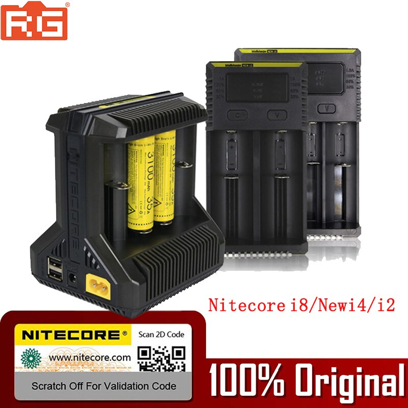 100% Original Nitecore Battery Charger I8 NEW I2 I4 LCD Intelligent Charger Li-ion 18650 14500 16340 26650 AAA AA 12V Charger