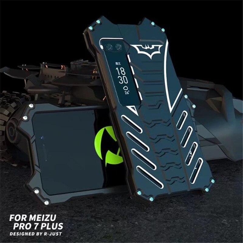 R-JUST armadura de Batman resistente al polvo resistente al aire libre Metal de aluminio a prueba de golpes soporte funda protectora potente para Mei zu Pro 7 Pro7 PLUS
