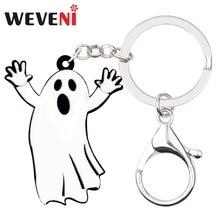 WEVENI acrylique Halloween Anime fantôme porte-clés pendentif anneau sac de fête voiture fête bijoux à breloques pour femmes filles cadeau pas cher 2018
