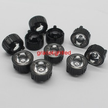100 pces 20mm 5/15/20/30/45/60/90/120 graus led lente com suporte preto para 1 w 3 w 5 de alta potência led lâmpada luz