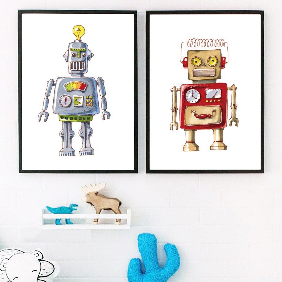 Dibujos Animados acuarela Robot pared arte lienzo pintura carteles nórdicos e impresiones imágenes de la pared para niños bebé niño niña habitación hogar decoración
