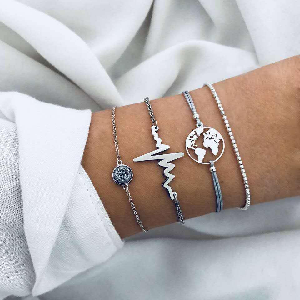 Lighting Chain Link World Map Bracelets & Bangles Jewelry Globe Bracelet Charm Travel Jewellery Gift Wanderlust Earth Bracelet