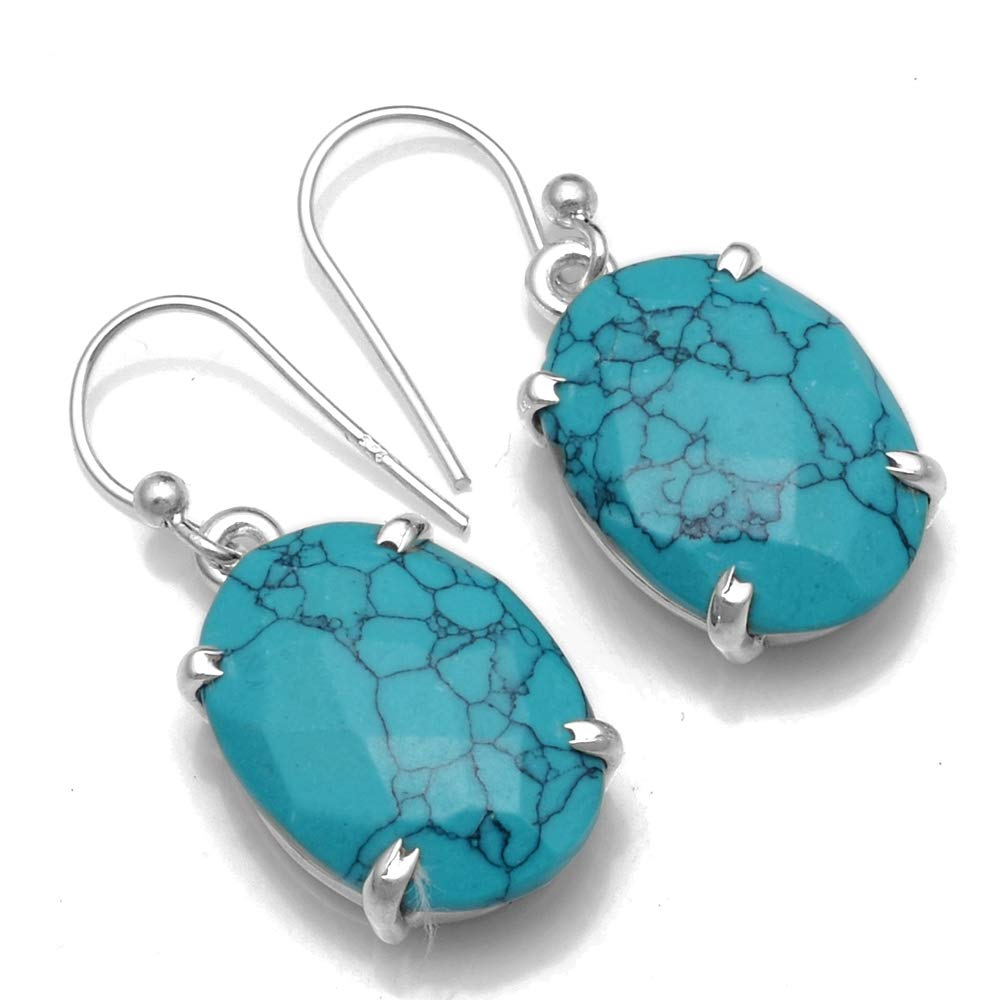 Genuine Turquoise 925 Sterling Silver Earrings,31.8 mm, 2SE0521
