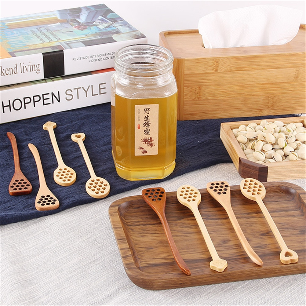 Palillo mezclador de madera Natural biónica, palillo mezclador de miel, cuchara mezcladora de cocina de mango largo saludable