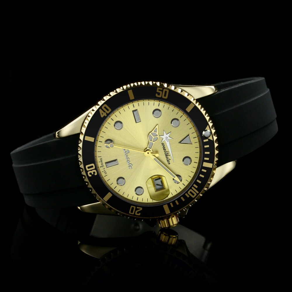 Wealthstar Men Fashion Casual Sports Silicone Strap Quartz Watches relojes hombre marca famosa Auto