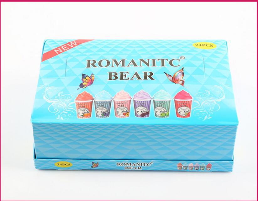 24 pçs quente novo lipbalm longa duração hidratante bálsamo labial bonito sorvete design bálsamo sexy lábios completos cuidados dropship