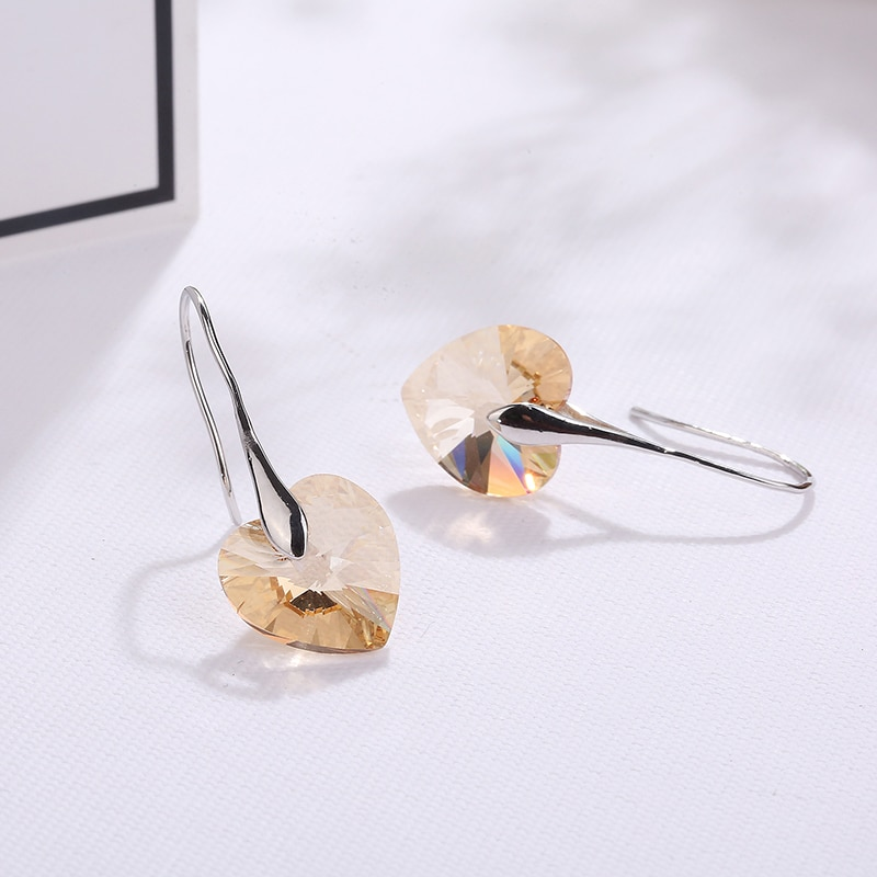2021 Trend Love Heart Crystal Drop Earrings For Women Girlfriend Mother Bijoux Jewelry Wedding Gifts Multi Colors Options  - buy with discount