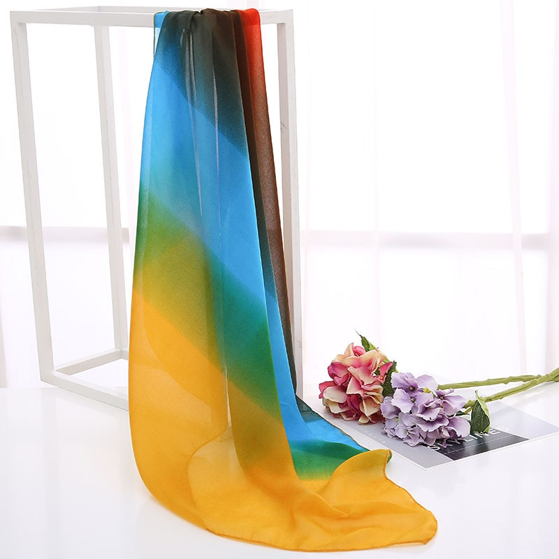 ¡Oferta! bufanda cuadrada con estampado de leopardo de color degradado de 70x70 cm para mujer, pañuelo para la cabeza con cuello pequeño para oficina, bufandas foulard