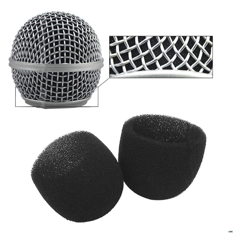 Negro redondo forma de bola tapa del micrófono parabrisas parrilla espuma interior esponja para SM58 SLX24 PGX24 PG58 BETA58A Mic cubierta