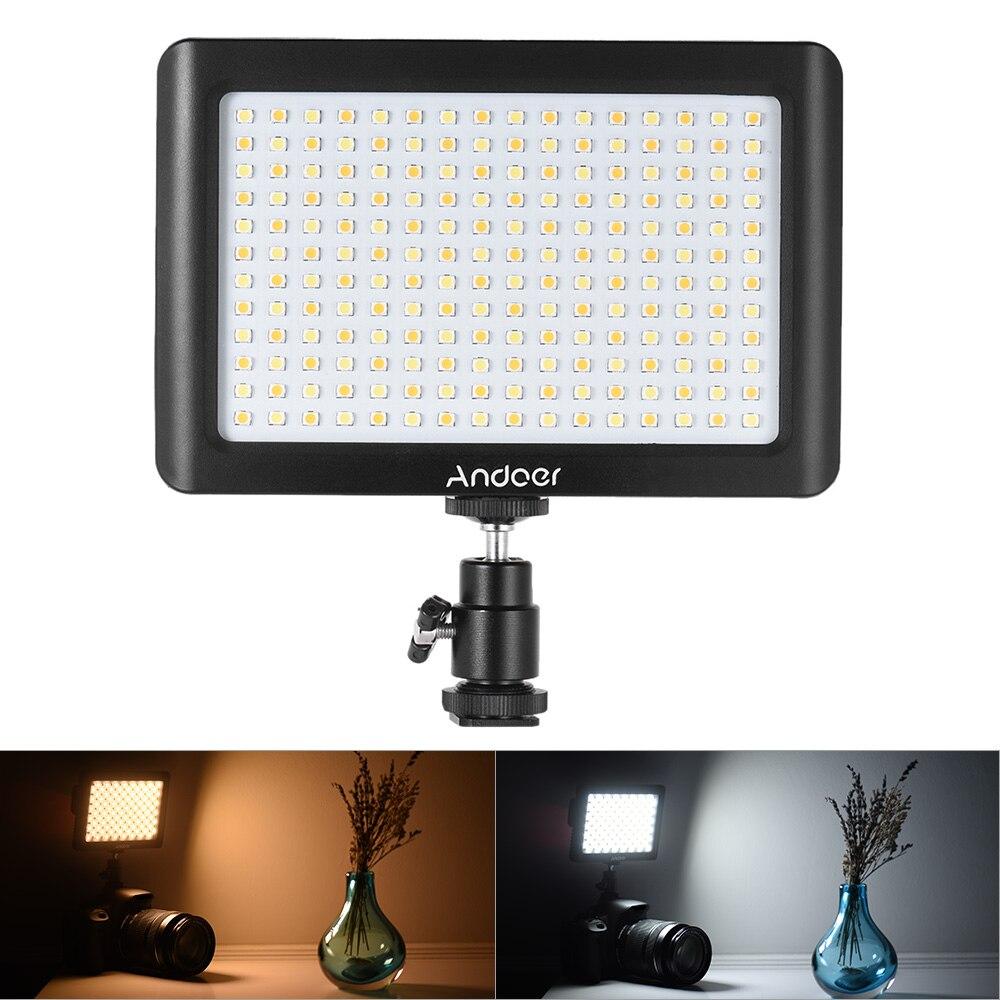 Andoer Mini Estudio de vídeo fotografía LED Panel de luz lámpara 3200 K/6000 K 192 Uds cuentas para Canon Nikon DSLR cámara DV videocámara