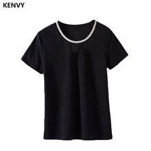 Kenvy marca de moda feminina high-end de luxo verão magro novo algodão com miçangas de metal corrente selvagem curto-mangas compridas t-camisa superior