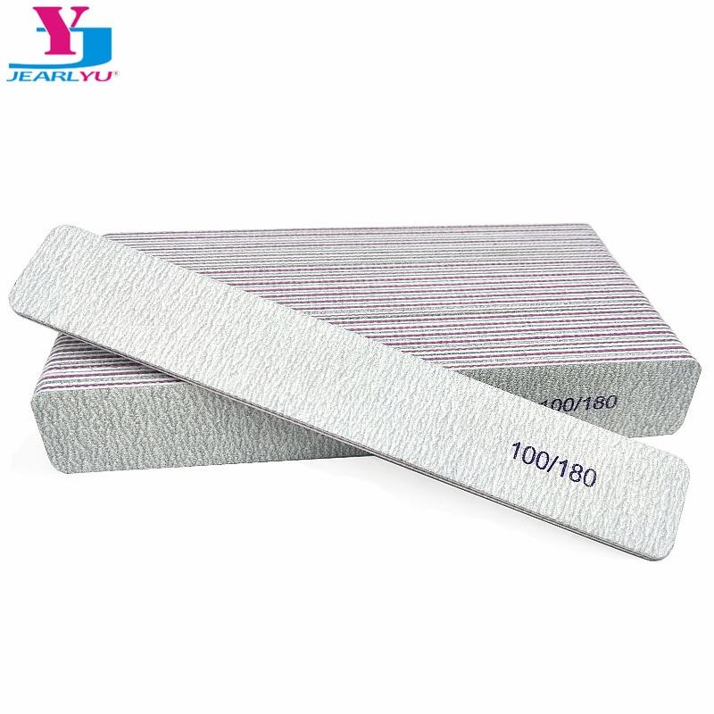 20pcs Gray Nail File Buff Polishing Block Sanding Files For Manicure Sandpaper 100/180 Nail Art Tool Straight Thick Stick