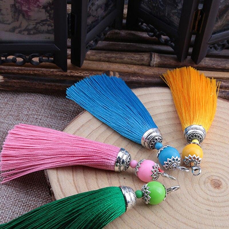 Bolso de estilo chino con hebilla de langosta, cadena para encontrar llavero de regalo, llavero de borla de moda, llavero con flecos para colgar en el coche DIY