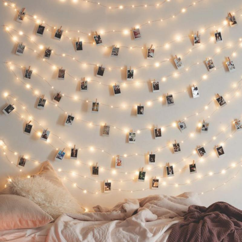 Cadena de luces LED con batería Clip de foto Led Cadena de hadas guirnalda de Navidad 3 M/4 M/5 M luces para fiesta de boda #0919