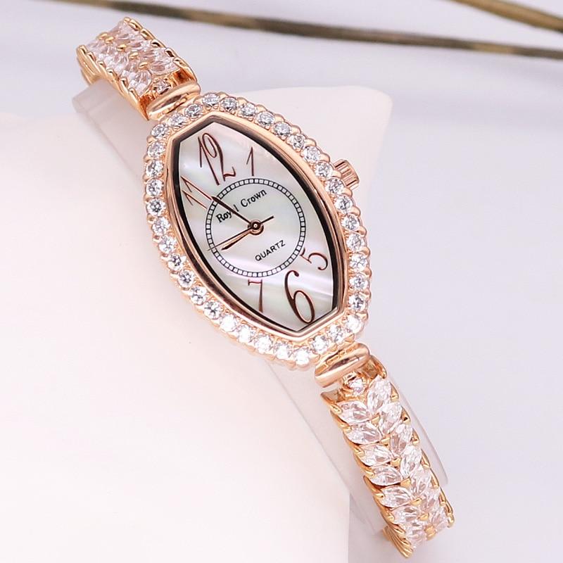 Lady Women's Watch Japan Quartz Fashion Clock Crystal Hours Mother-of-pearl Dress Bracelet Rhinestone Girl Gift Royal Crown Box