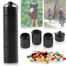Outdoor Tragbare Wasserdichte Outdoor Medizin Pille Container Aluminium Fall Keychain Metall Wasserdichte Box Fall Container