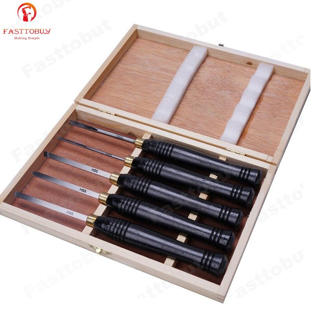 5 шт./компл. HSS Токарный станок набор инструментов для обработки деревообработки набор быстрорежущих стальных полукруглых ножей ручной деревянный токарный инструмент