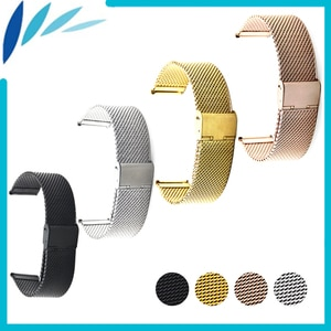 Stainless Steel Watch Band 20mm for Samsung Gear S2 Classic R732 / R735 Hook Clasp Strap Loop Wrist Belt Bracelet Black Silver