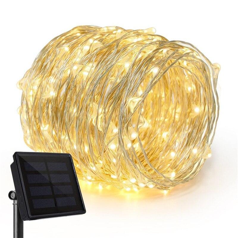 Energía Solar alambre de cobre Led luces de cadena impermeable al aire libre guirnalda de luces led fiesta de Navidad boda Feliz cumpleaños decoración