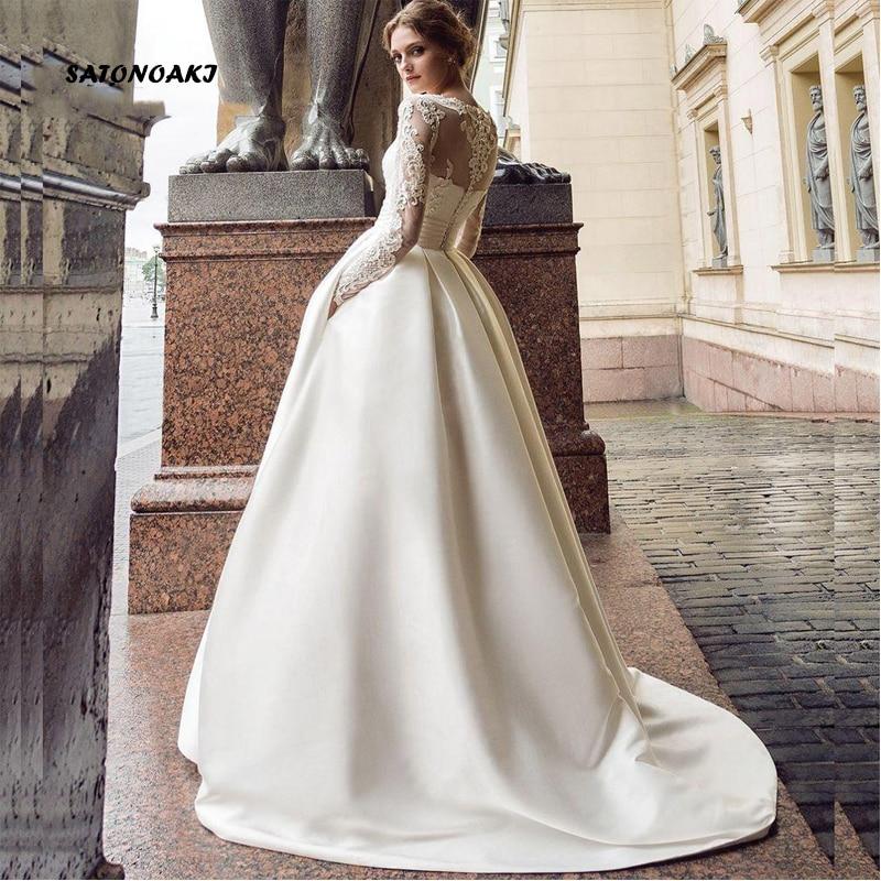Vestidos De Novia 2021 شاطئ الحرير كم طويل فستان الزفاف للنساء الدانتيل Princesa زي العرائس رداء Mariée Sukienka فرنسا
