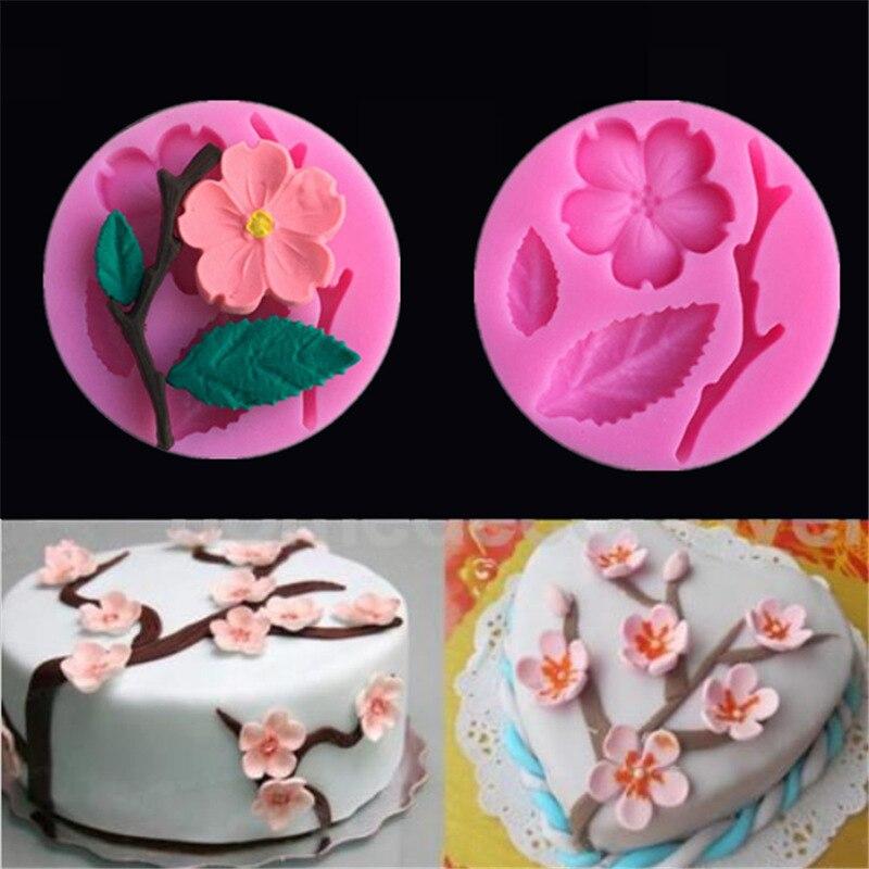 3D Food-grade Silicone Peach Blossom Cake Decorating Tool Chocolate Candy Jello Baking Moldes Silicona Para Reposteria Cake Mold