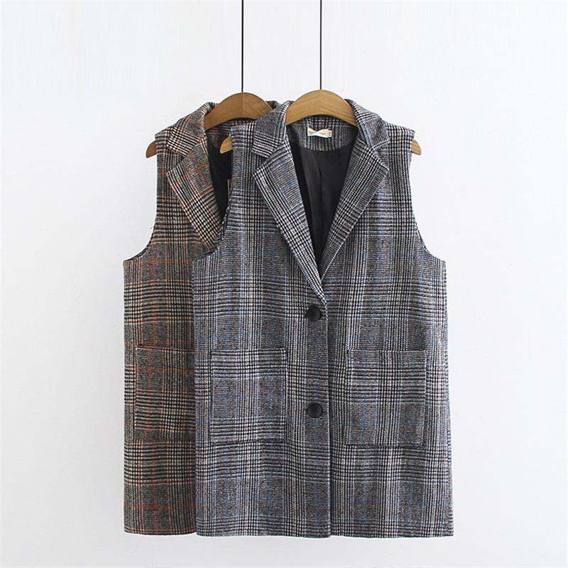 2019 primavera otoño traje Chaleco de talla grande XXL-5XL mujeres sin mangas a cuadros Blazer Casual tops chaleco mujer ropa de abrigo suelta G345