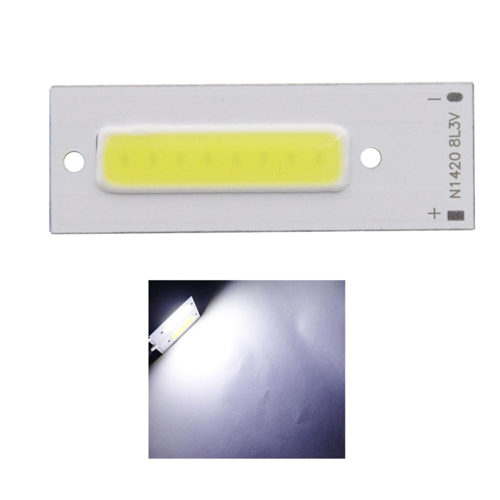 Nueva llegada 3v 3,7 v 1,5 w 43x15mm tira led cob barra chip fuente de luz para lámpara de trabajo bicicleta DIY luz blanca fría cob tubos led