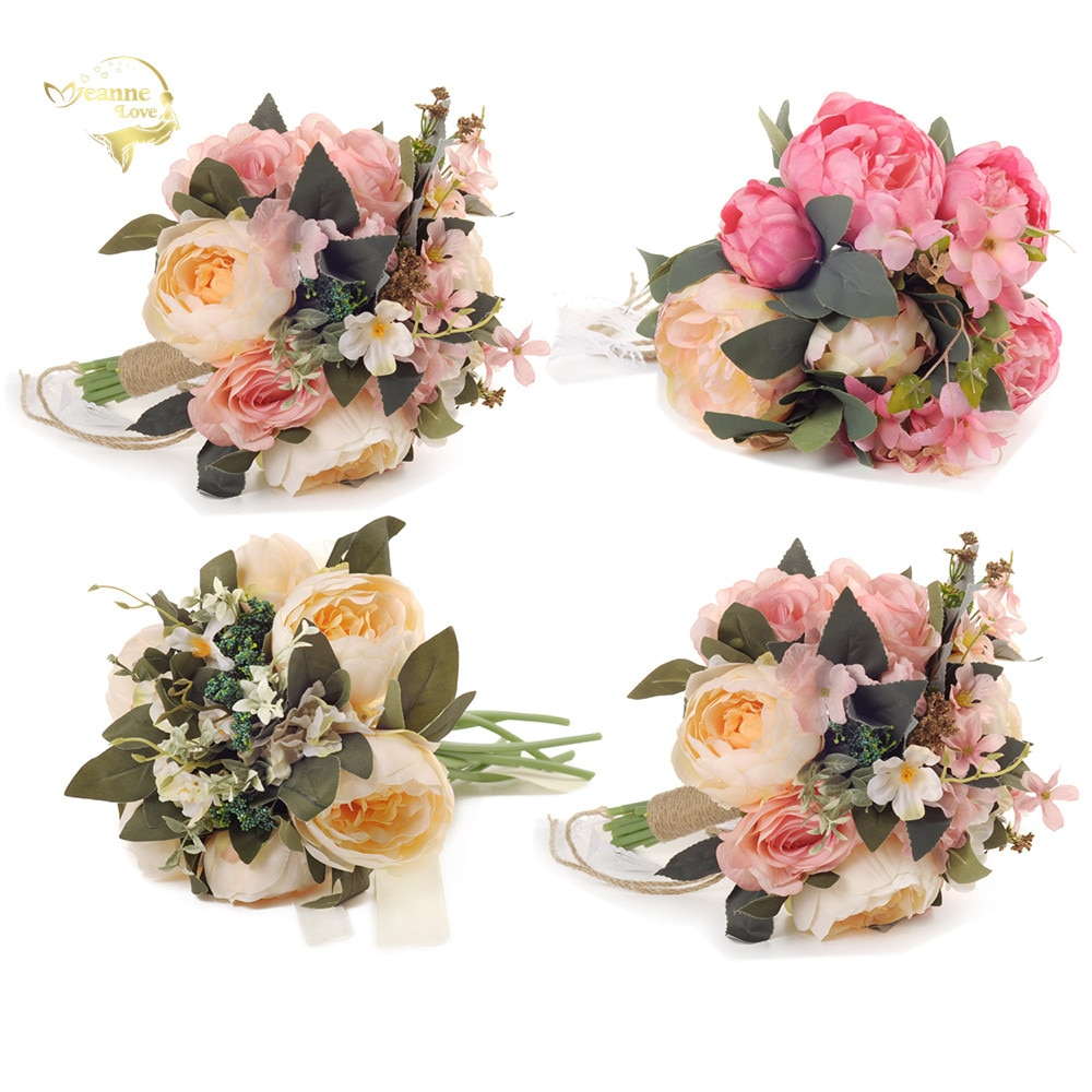 Beautiful Colorful Pink Silk Bouquets of Flowers for Bridesmaids Wedding Bride Church Artificial Ropes WP03