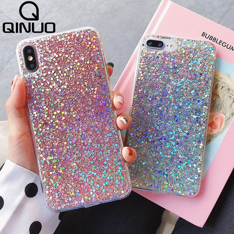 Brillante lentejuelas brillo caja del teléfono para iPhone 11 Pro Max 6 6S 8 7 11 X XR XS max 5 5S SE 2 2020 de cristal Bling funda de silicona