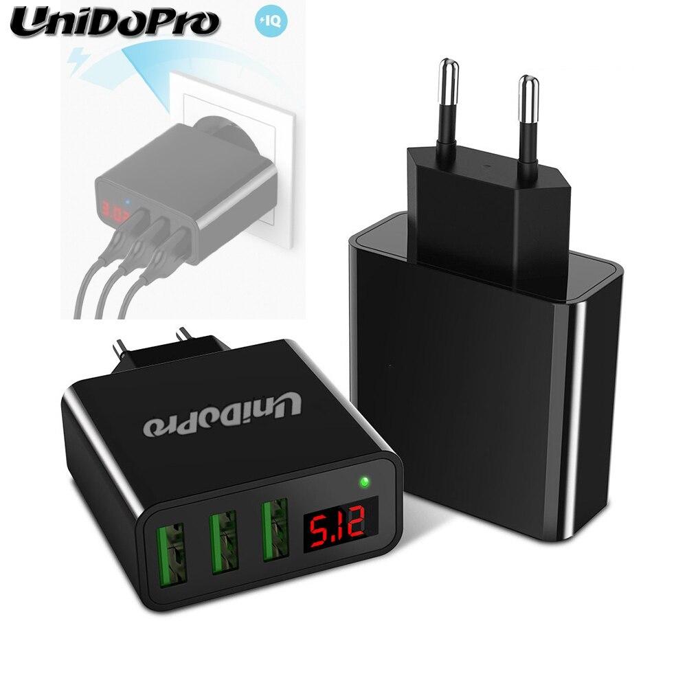 Unidopro 3-port usb ue plug ac carregador de parede para samsung galaxy tab iris, guia um 7.0 t280 2016 2.4a viagem chargeur com display led