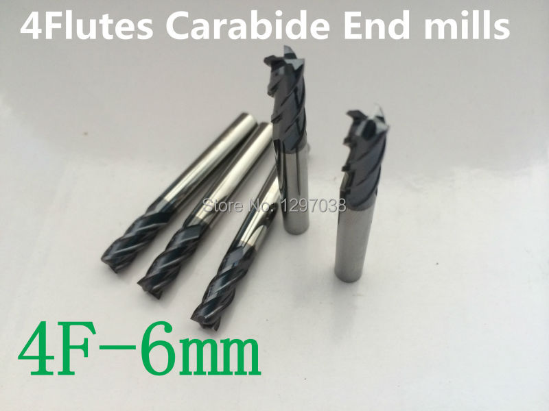 5 uds 4 flautas 6MM micro grano de carburo sólido, fresa, herramienta de torno de CNC router bits hrc45-50