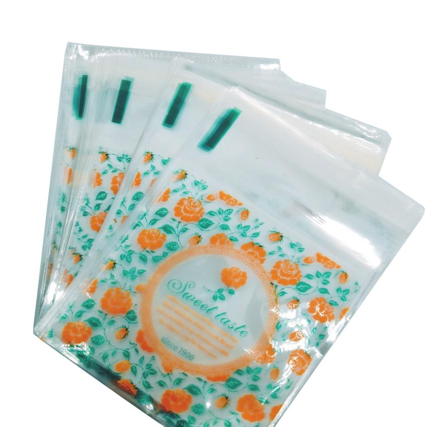 Lote de 100 unidades de 7x7cm, bonitas flores de sabor dulce, autoadhesivas y transparentes, bolsa de embalaje para comida para regalo DIY, bolsa de plástico para galleta pequeña