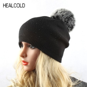 Winter Wool Beanies For Women Knitted Faux Fur Pompom Hat Ladies Warm Soft Hats Casual Outdoor Caps