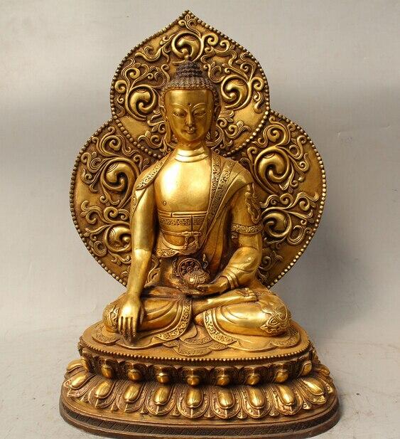 "Details about 15"" Tibet Bronze Gild 8 treasure Sakyamuni Shakyamuni Amitabha Buddha Statue R0715"