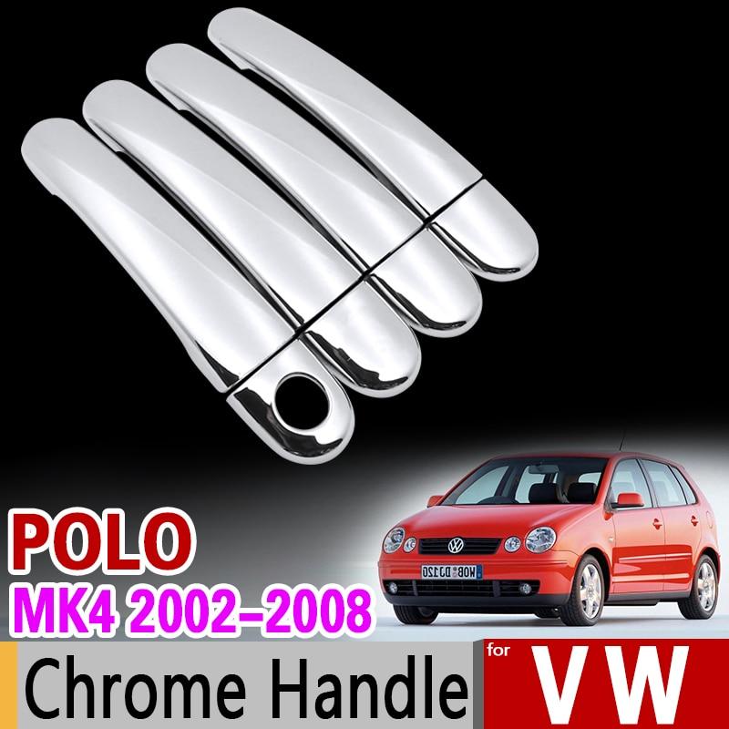 Набор хромированных покрытий GTI для VW POLO MK4 2002-2008 9n 9n3, набор покрытий на ручки Volkswagen 2005 2006 2007, автомобильные аксессуары, наклейки для стайлинг...