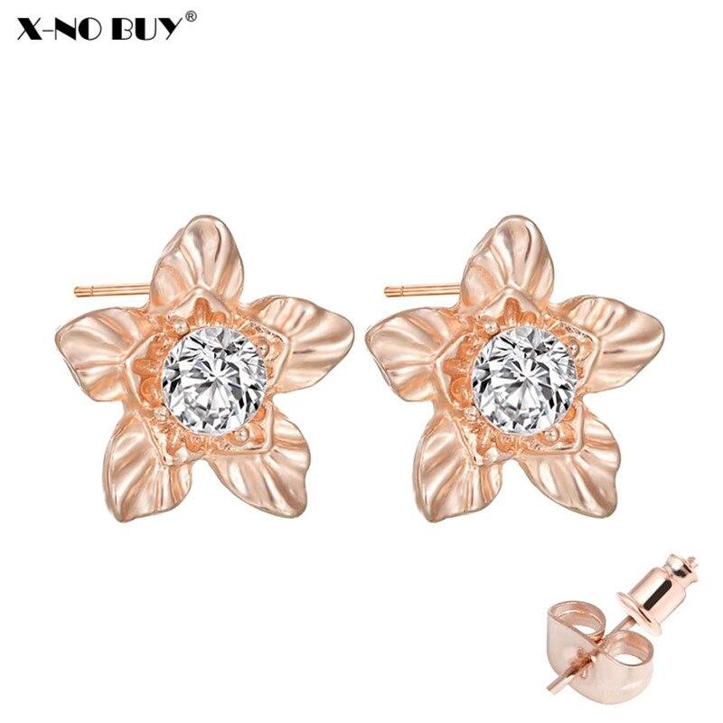 New Shining Rhinestone Stud Earring For Women Rose Gold Minimalist Plant Flower Simple Metal Alloy Small Earring Female