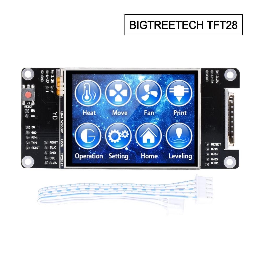 Bigtreetech tft28 peças de impressora 3d tela sensível ao toque reprap mks 2.8 polegada tft painel controlador reprap skr mks rampas placa