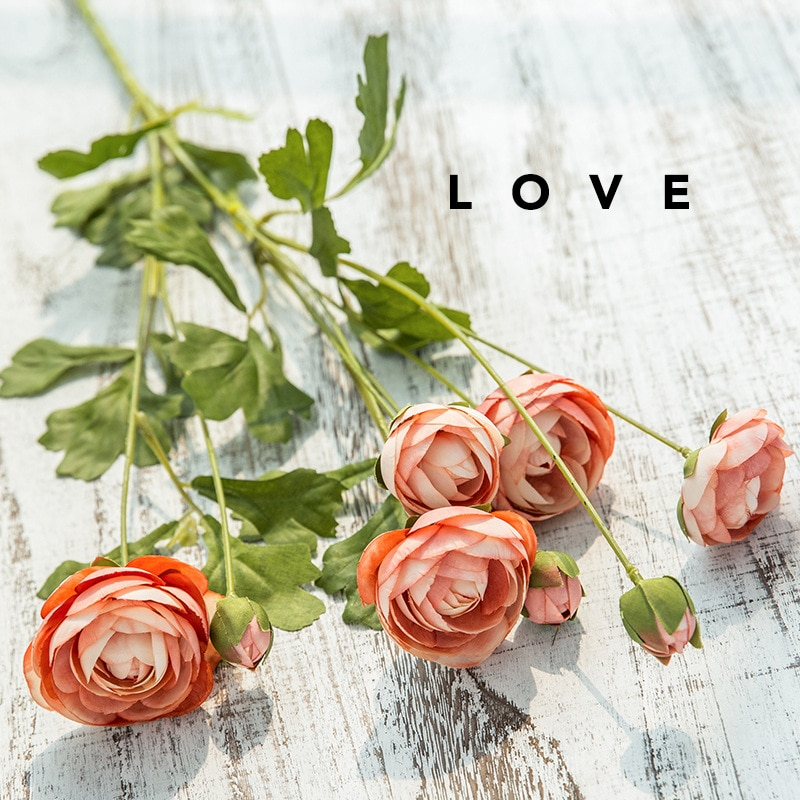 8 flores artificiales Diana, rama única, flor falsa europea, decoración para el piso de la sala de estar, arreglo de flores, decoración de Cactus
