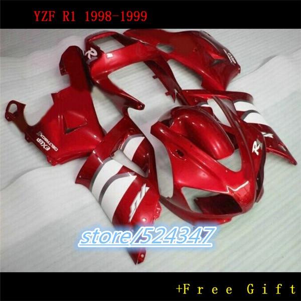 Nn-New hot! طقم انسيابية ABS للدراجات النارية ، طقم جسم لياماها ، أحمر وأبيض ، مخصص ، لـ 1998 1999 YZFR1 98 99 YZF R1