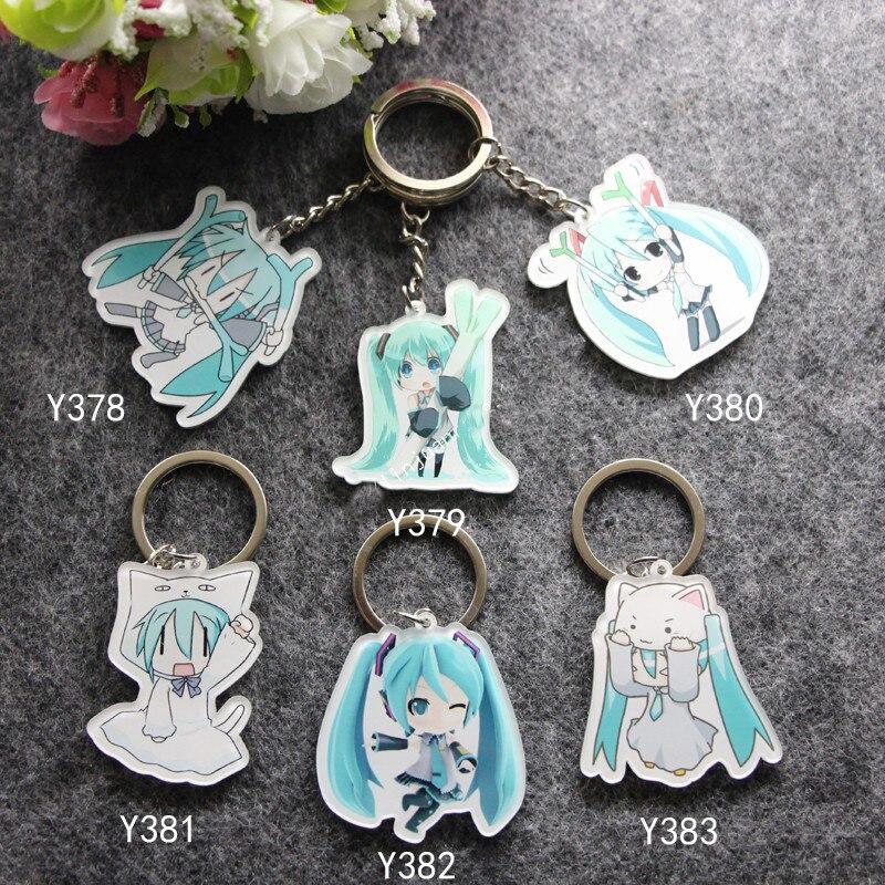 6 unids/set Llavero anime Portachiavi Hatsune Miku Black Rock kimono MikuMikuDance limitada Llavero kawaii Llavero colgante