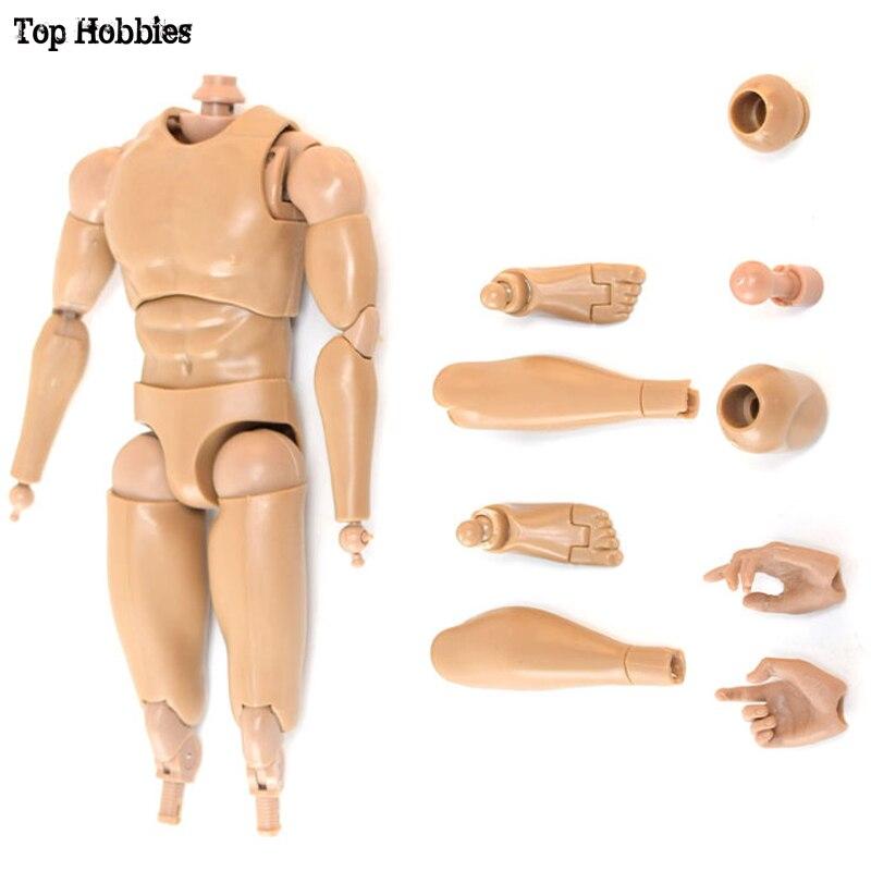 Juguetes y pasatiempos 24,5 CM 1/6 escala hombre/hombre cuerpo acción figura V8 movimiento de articulación PVC Fit 12 pulgadas Phicen muñeco soldado Muscle HotToys