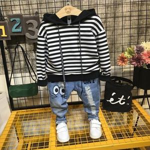 Baby Boys Sets spring and autumn Boys Sets Clothes Hoodies and jeans cotton sports stripe Set Children Suit 2-6year
