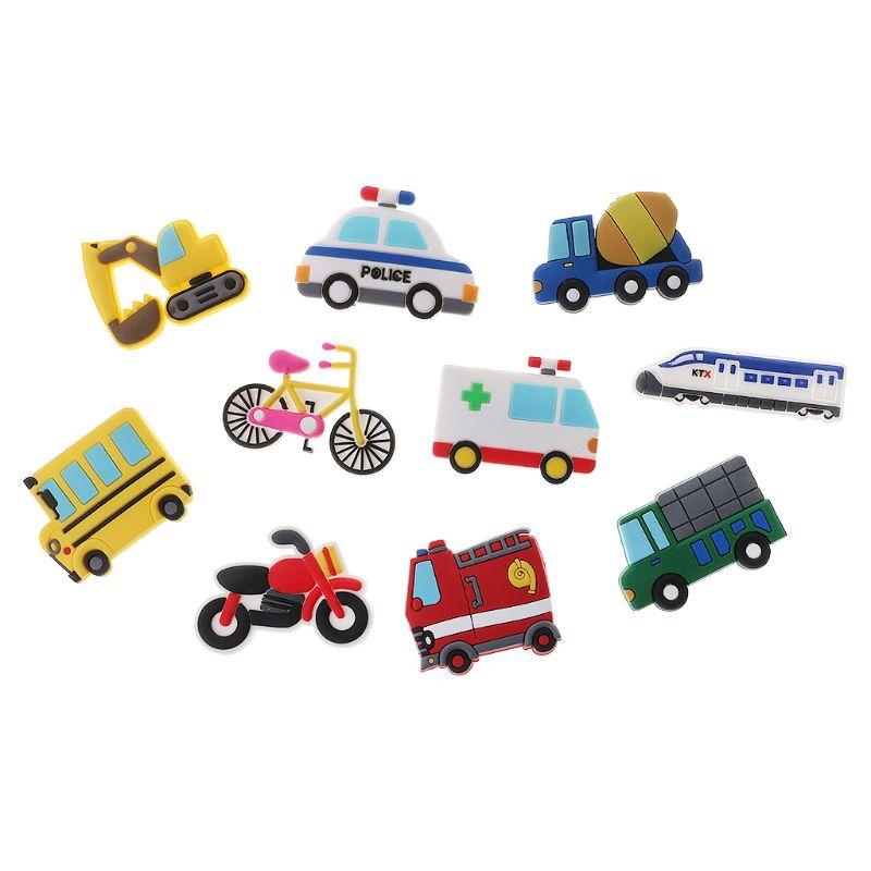 10 pçs design de carro criativo deocr para crianças tamanho pequeno silicone decoração diy