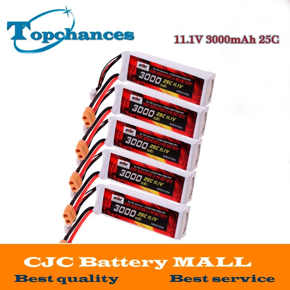 5X de alta calidad batería de Lipo de 11,1 mah 3000 V 25C XT60 macho para el DJI Phantom 1 FC40 DJI rueda de F450 F550 FPV Quadcopter