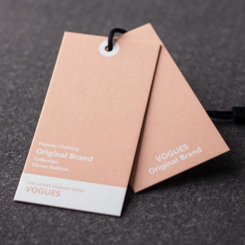 ZeQi 300gsm papel personalizado etiqueta colgante impreso etiquetas de ropa diseño etiquetas de ropa textura papel rosa etiqueta