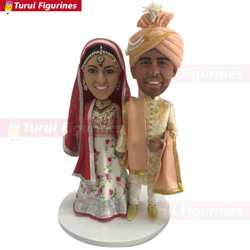 Torta de la boda de la India Topper personalizado bobblehead torta topper boda Bobble Head indio tradicional boda muñeca de diseño