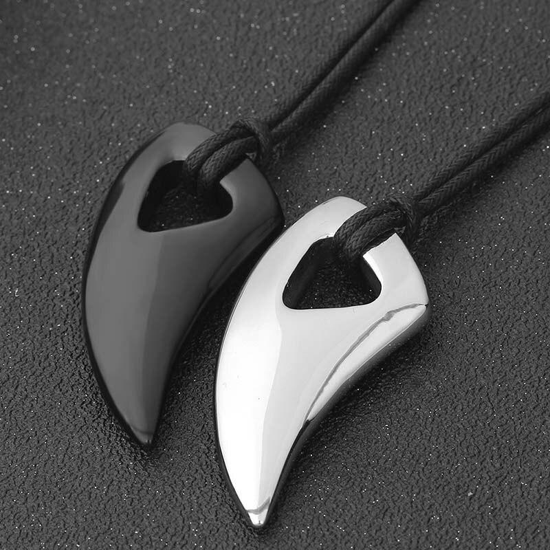 Collar de moda de titanio de acero Diente de lobo collar Animal colgante collares, joyas de accesorio regalo para hombres JL