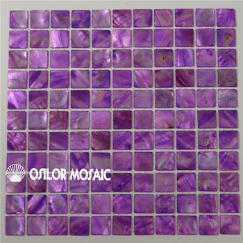 Purple color Chinese freshwater shell mother of pearl mosaic tile for bathroom and kitchen decoration wall tile 1pcs